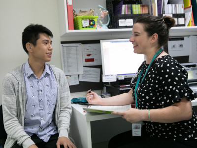 Clinician with person with disability